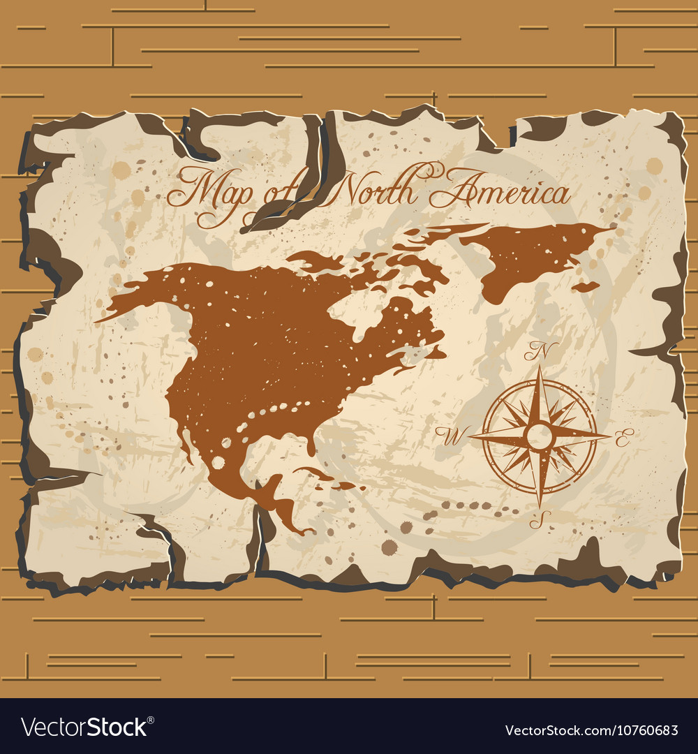 Old North America Map.Old Parchament Map Of North America Royalty Free Vector
