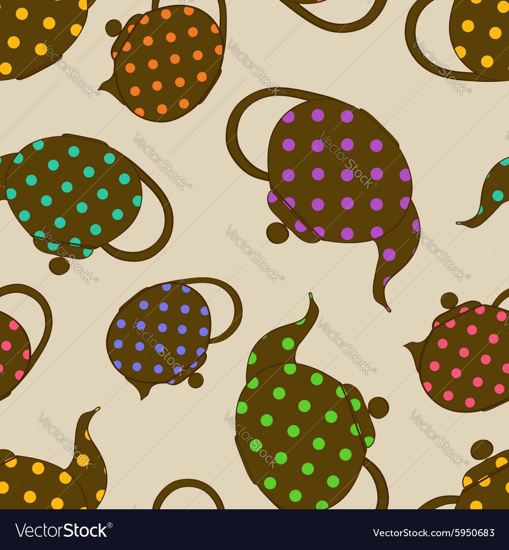 Seamless pattern of teapots