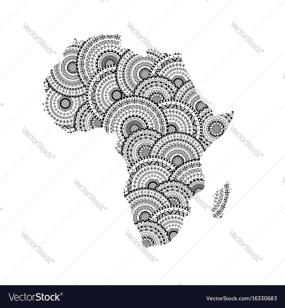Map Of Africa Madagascar.Silhouette Of Africa And Madagascar Map