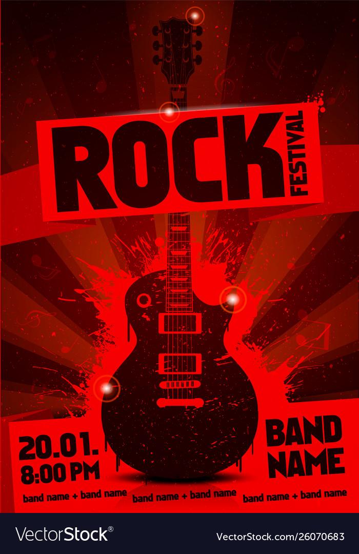Vintage grunge label concert poster with guitar