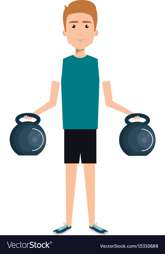 Athletic man weight lifting character