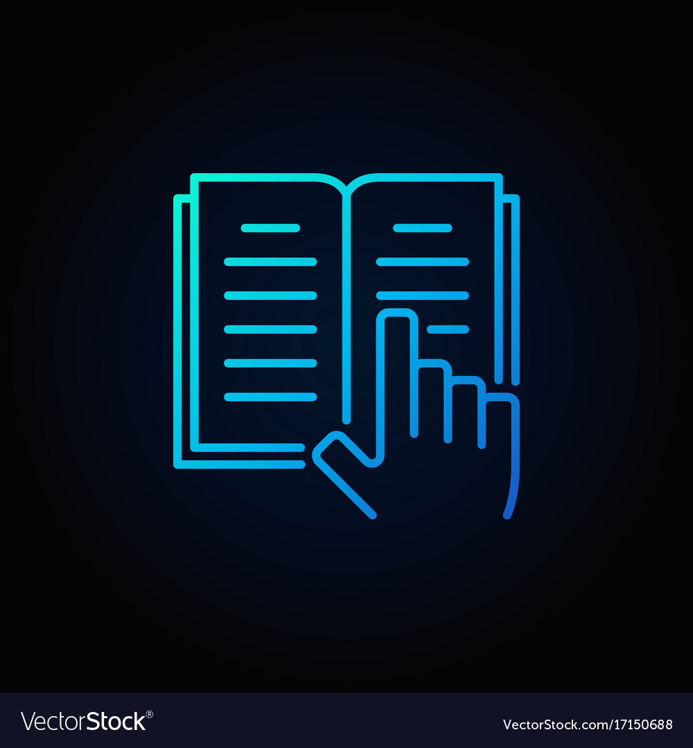 Book and hand blue icon