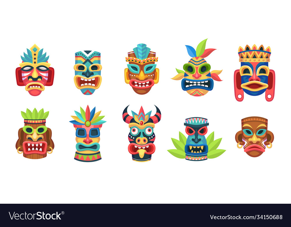 Ethnic masks ritual ceremonial tribal mexican