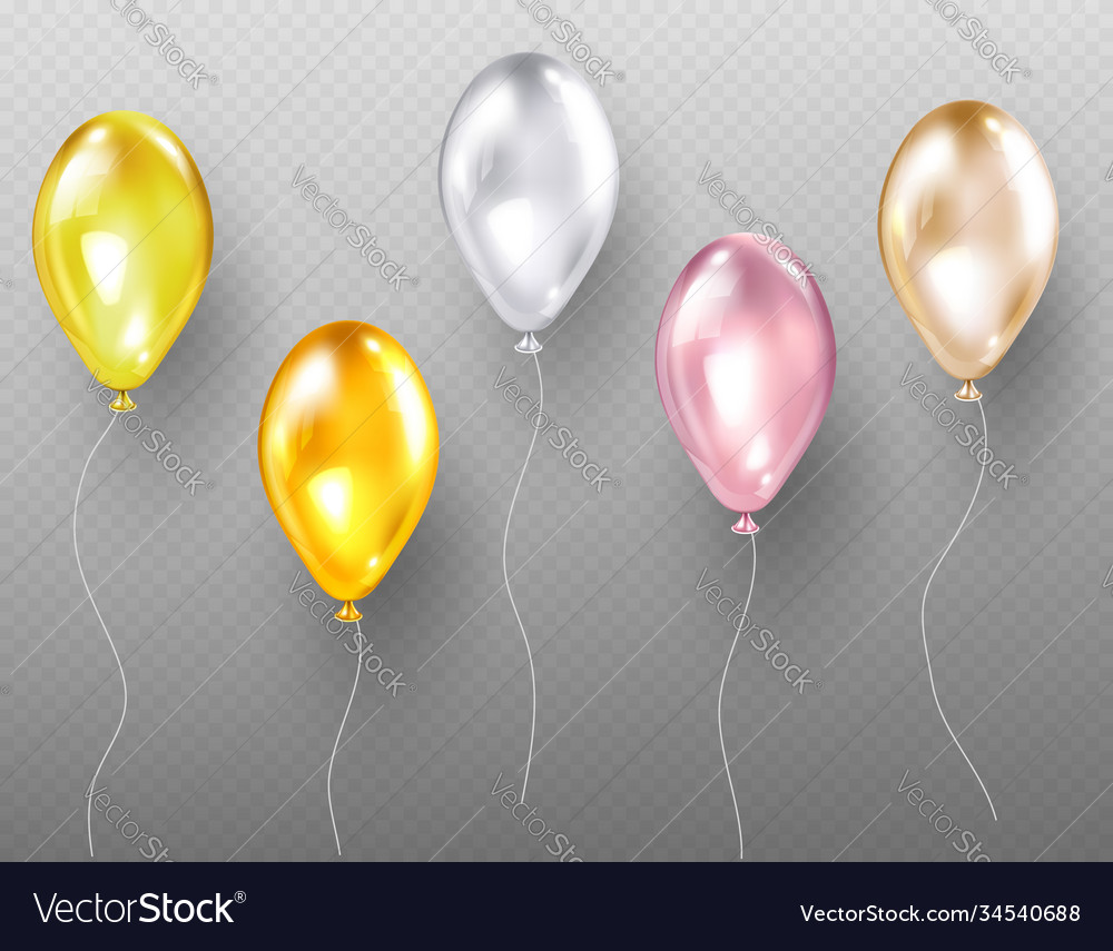 Helium balloons flying multicolored glossy objects