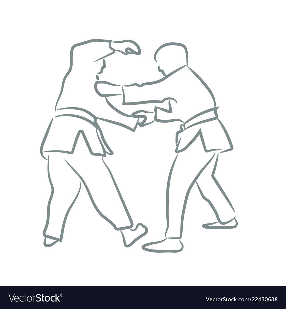 Judo symbol or logo silhouette with line art style