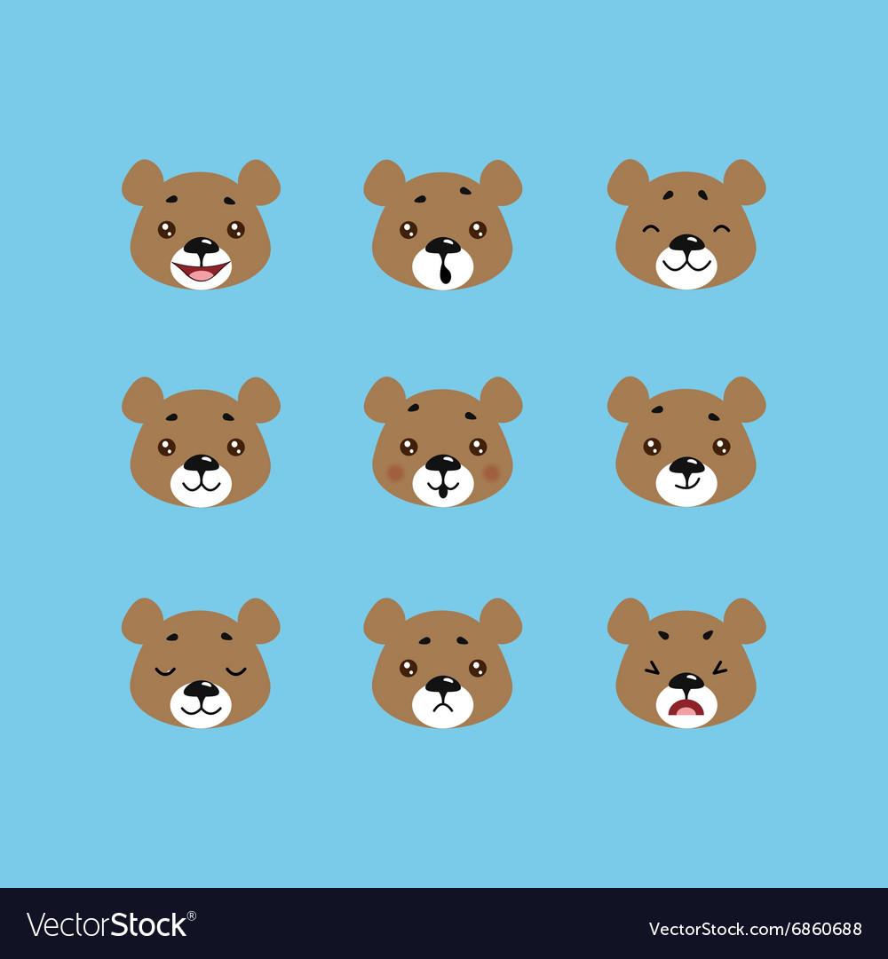 Set of bear emoticons