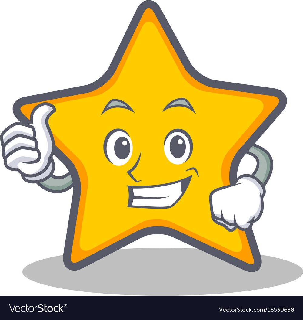 Thumbs Up Star Character Cartoon Style Royalty Free Vector