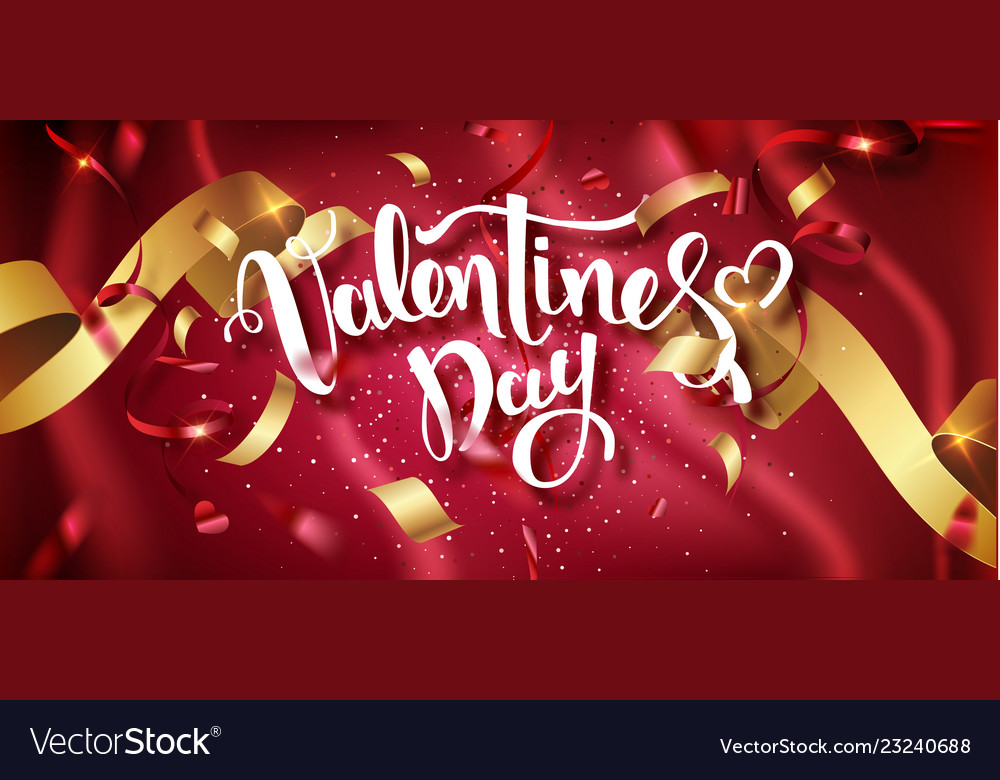 Valentines day handwritten text with confetti on