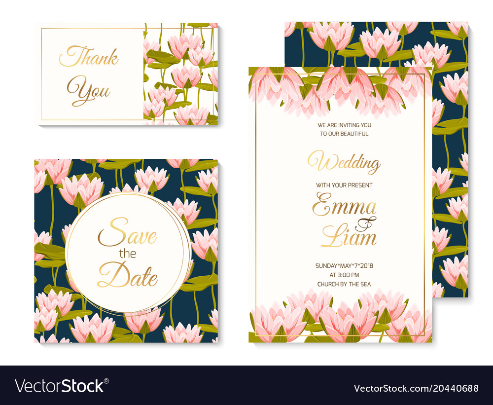 Wedding invitation template set water lilly flower