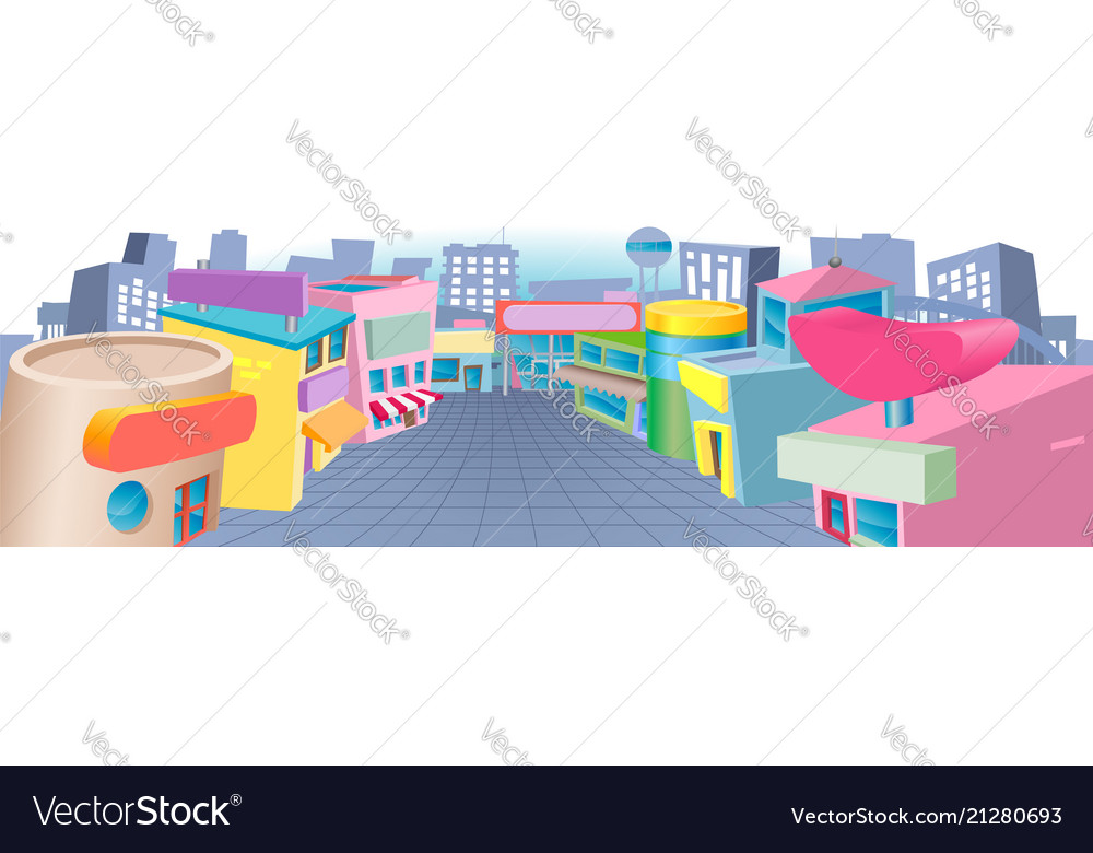 Cartoon street of shops