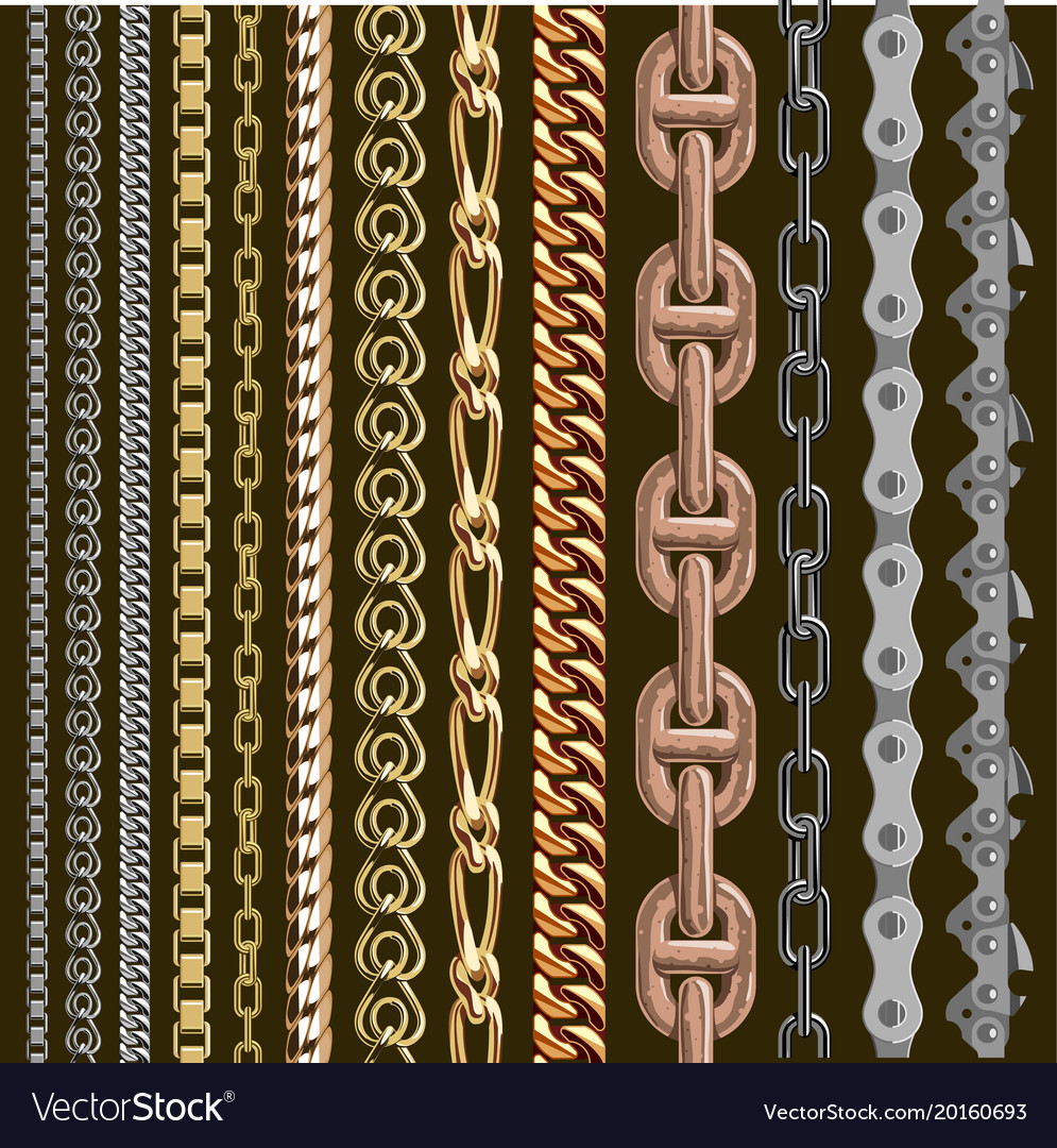 Chains link elements seamless metal chain