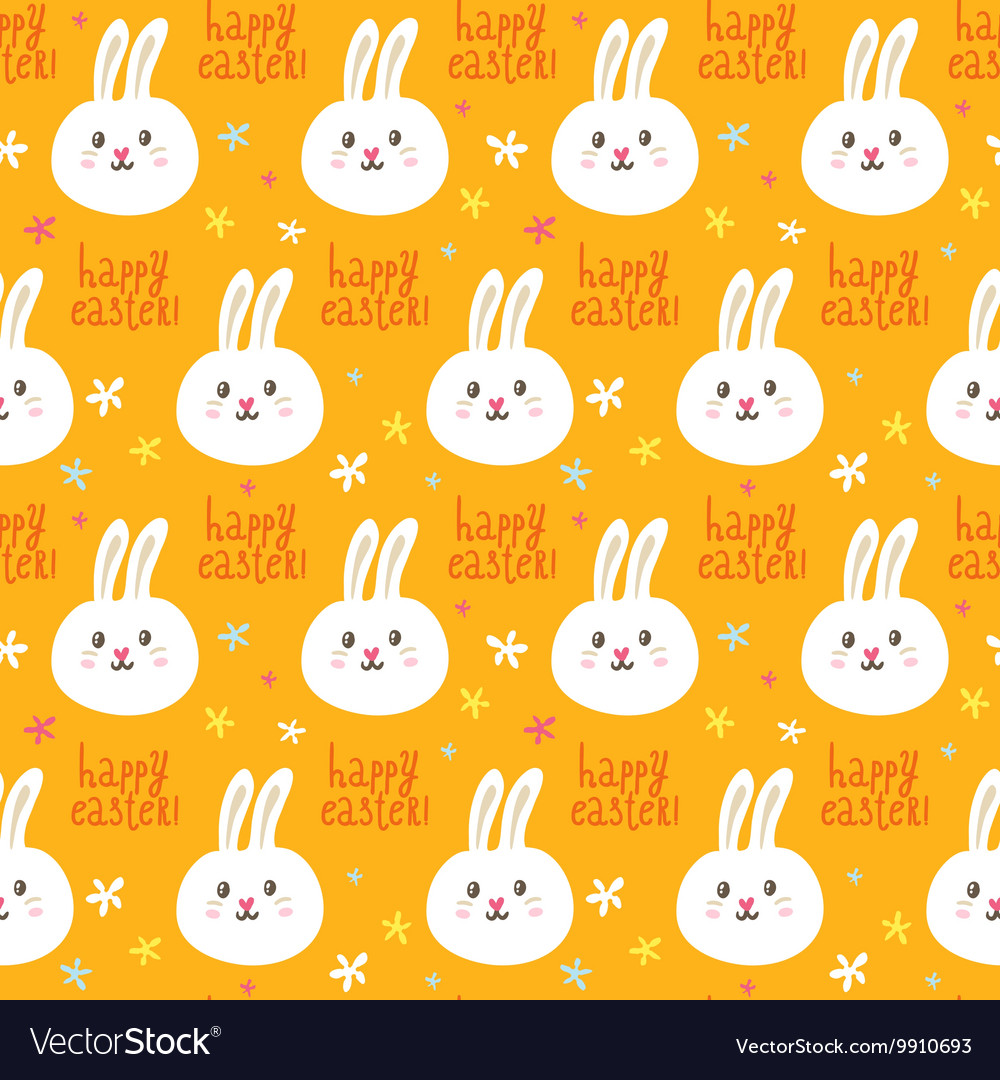 Easter seamless pattern with cute rabbits and