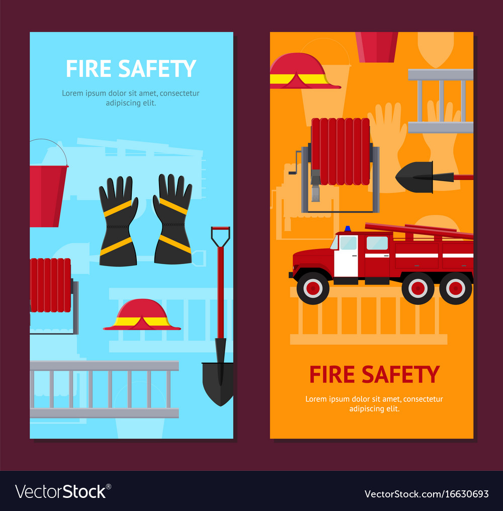 Firefighter profession equipment and tools banner