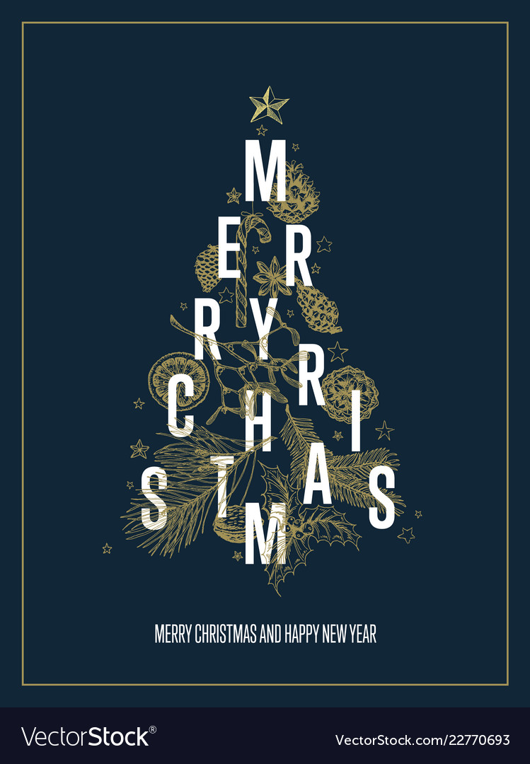 Modern Christmas Trees.Modern Christmas Card Template With Tree