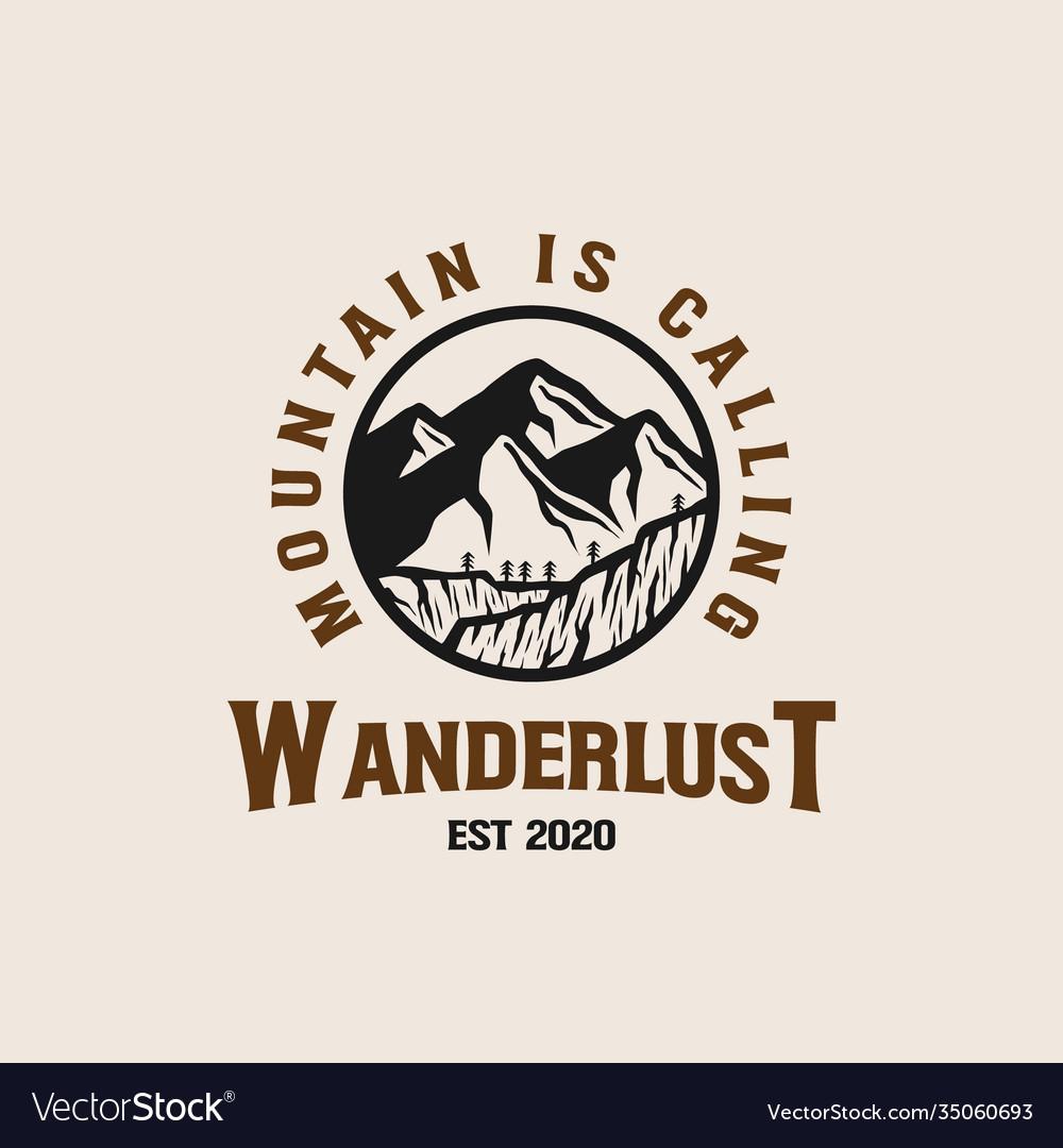 Mountain adventure lineart logo template