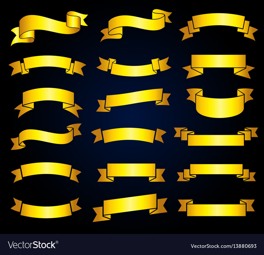 Retro golden ribbon banners stock