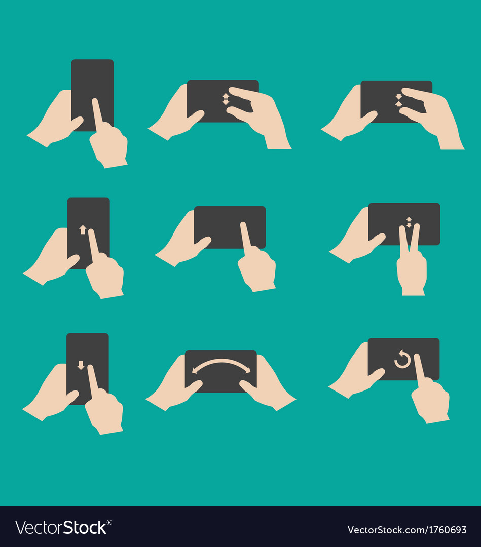 Set of hand gestures vector image