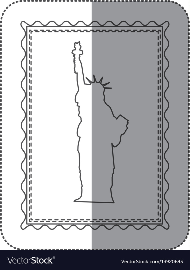 Sticker monochrome contour frame of statue of