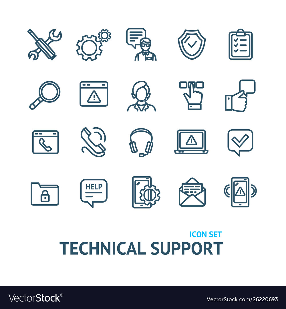 Technical support signs black thin line icon set