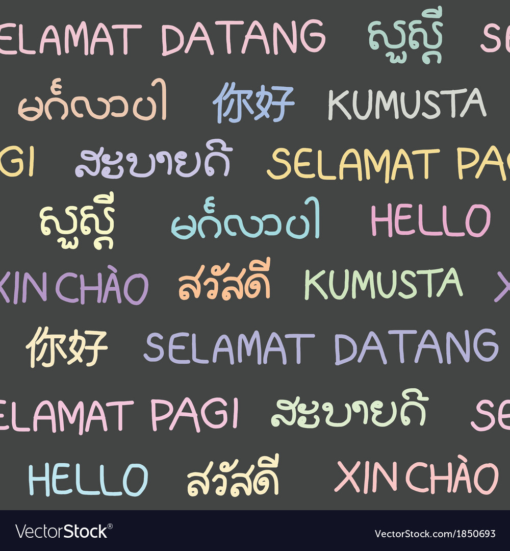 The Word Hello In South East Asian Languages Vector Image