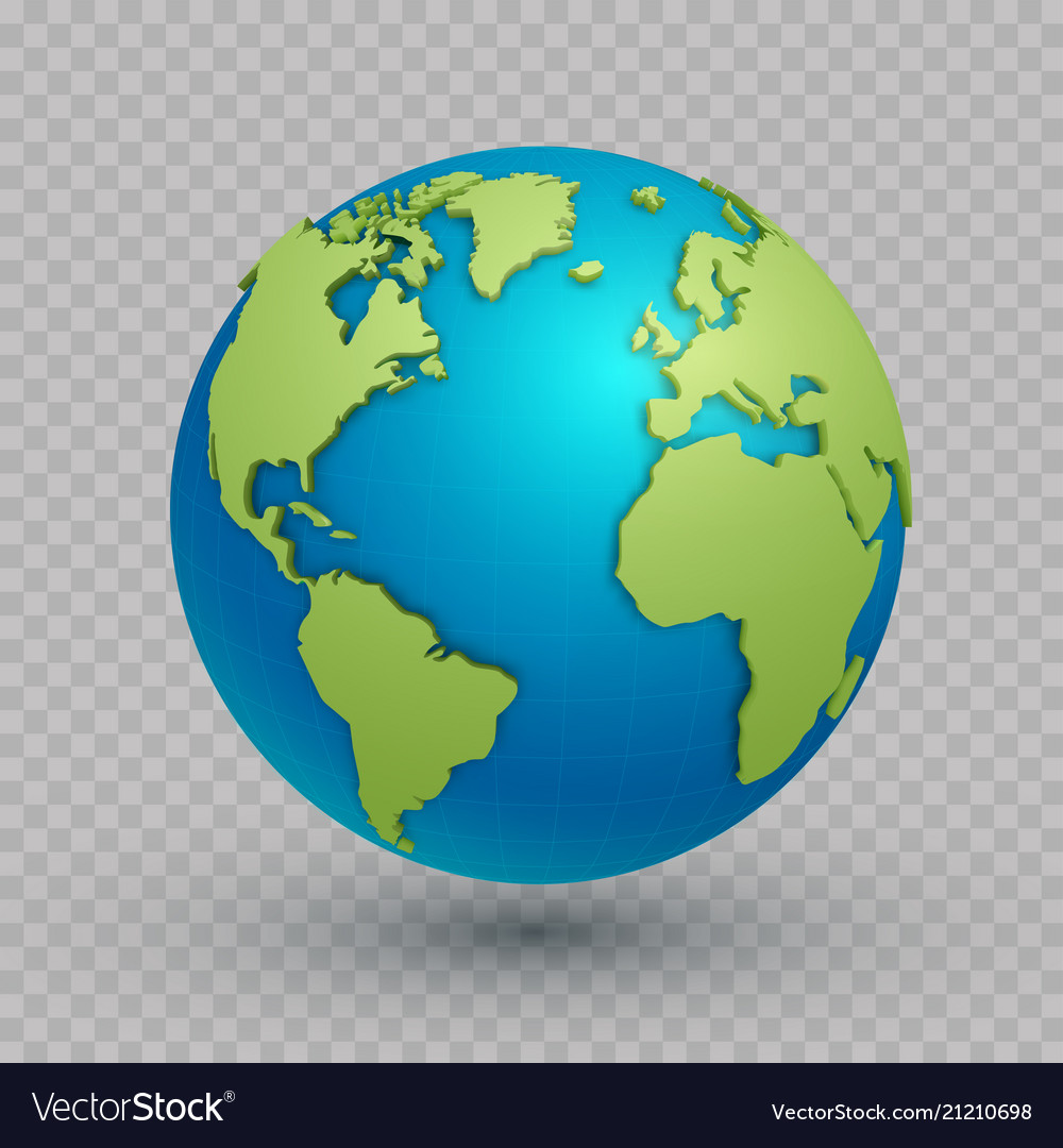 3d world map globe Royalty Free Vector Image   VectorStock