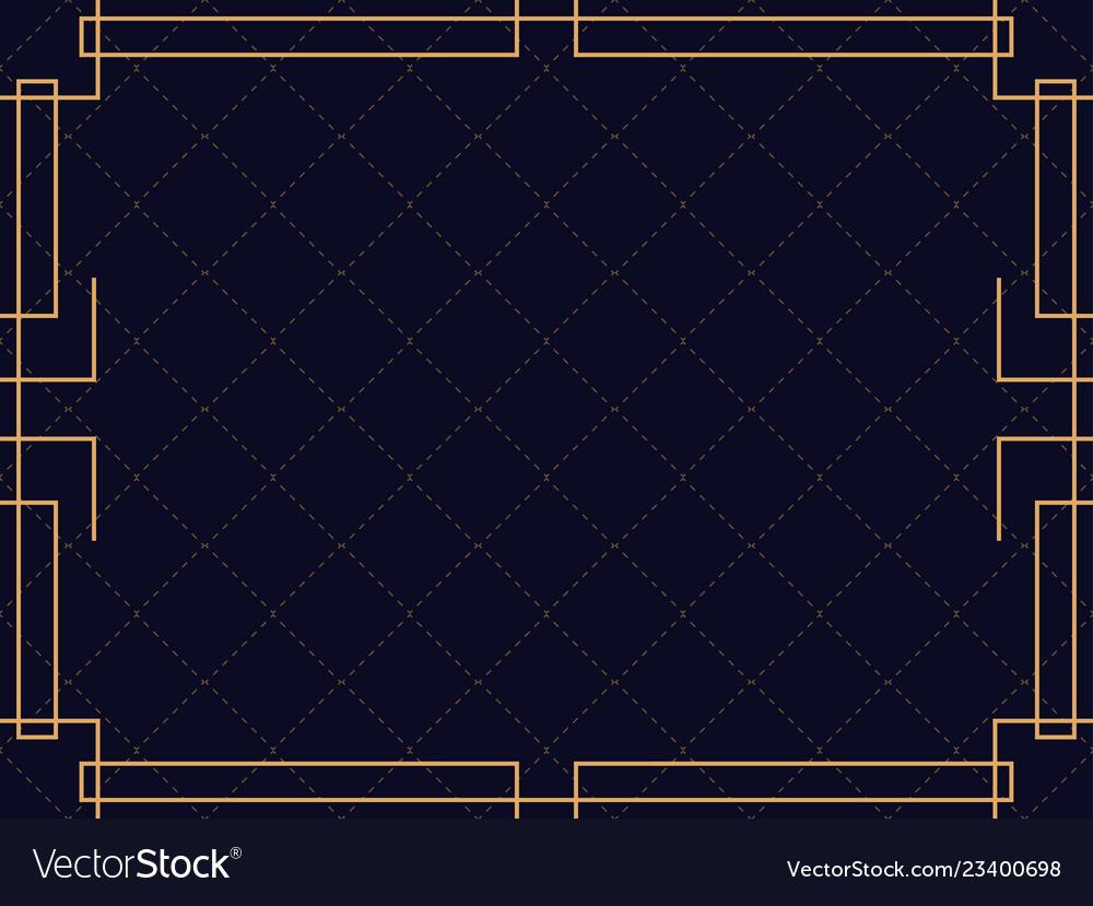 Art deco frame vintage linear border design a