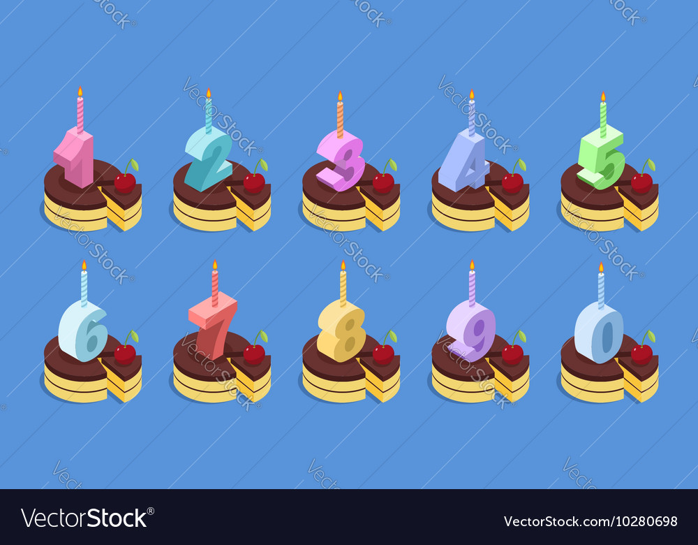 Birthday Cake Isometric Candle Vector Images 59