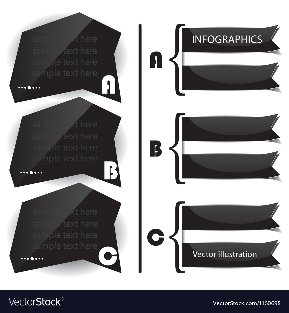 Black glossy panels presentations vector image