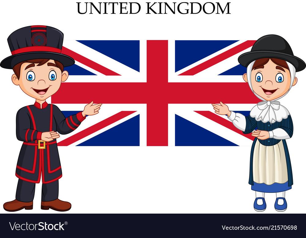 Cartoon United Kingdom Couple Wearing Traditional Vector Image