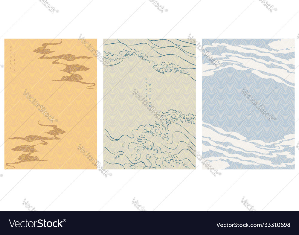 Chinese template with wave pattern cloud and