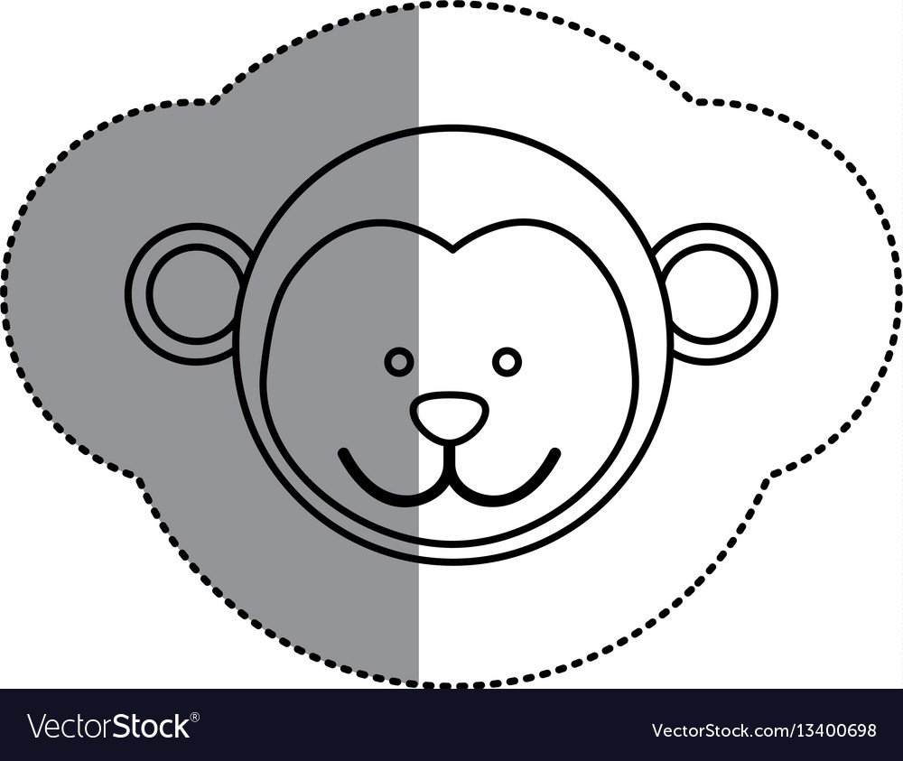 Contour face monkey icon vector image