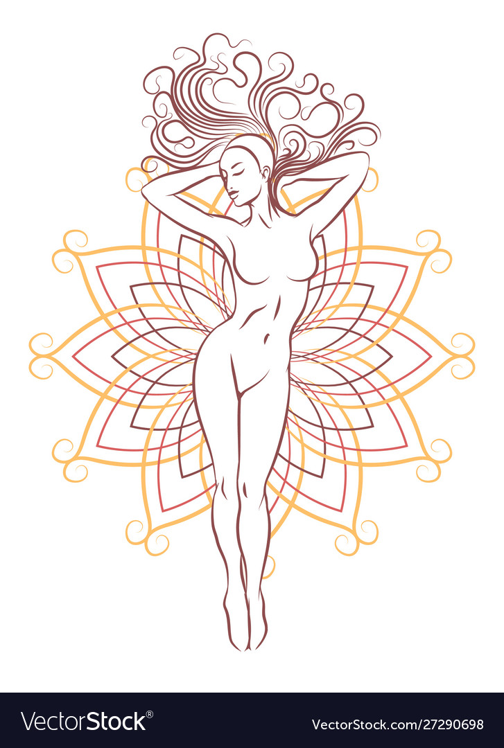 Female nude silhouette on geometrical flower vector