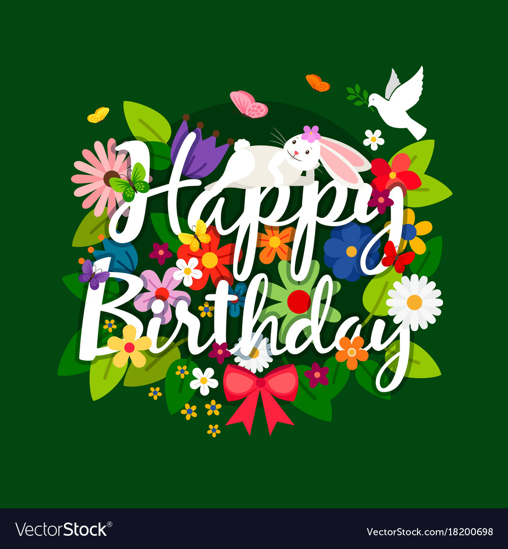 Happy Birthday Card With Flowers Bouquet Vector Image