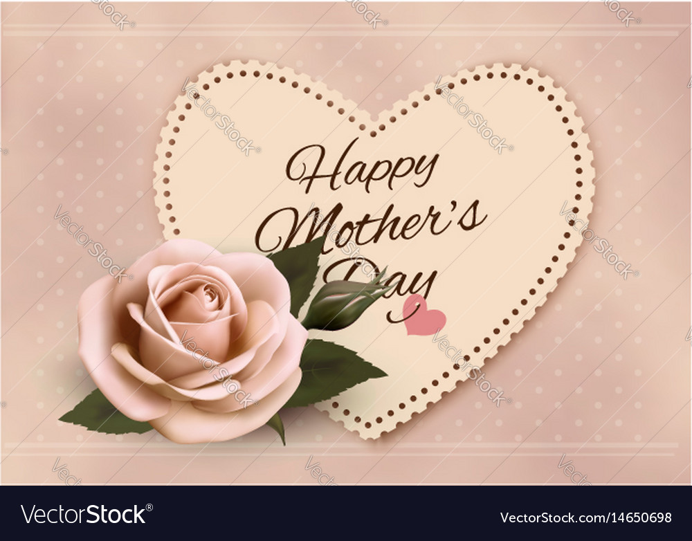 Happy Mothers Day Background With A Heart Shaped Vector Image