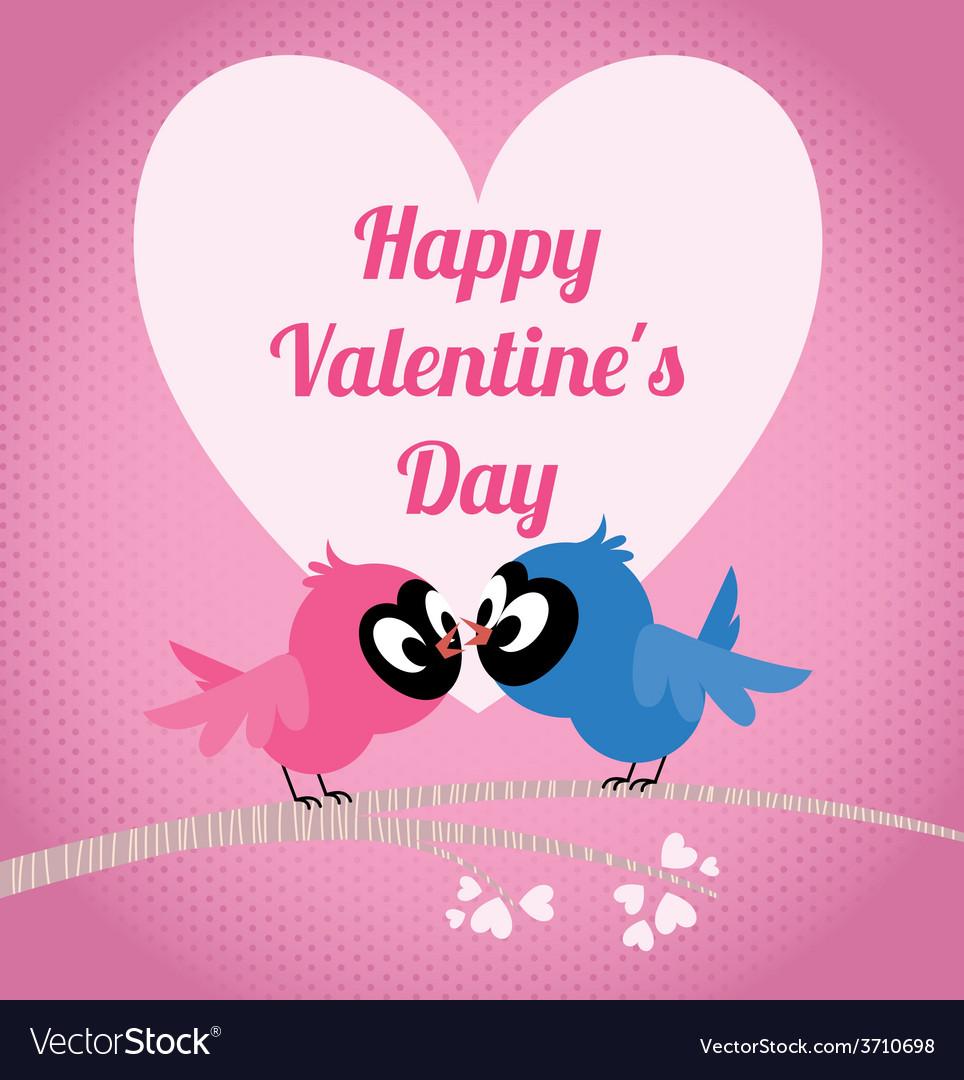 Lovers birds on a branch celebrate Valentines Day