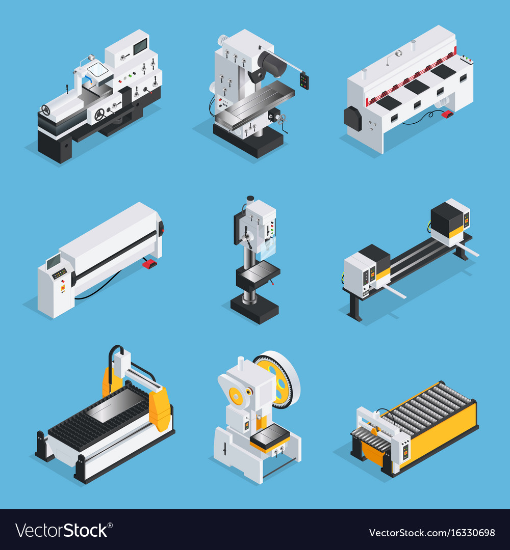 Metalworking machines isometric set vector image