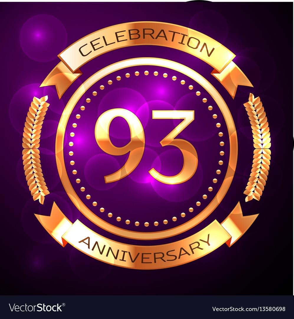 Ninety three years anniversary celebration with vector image