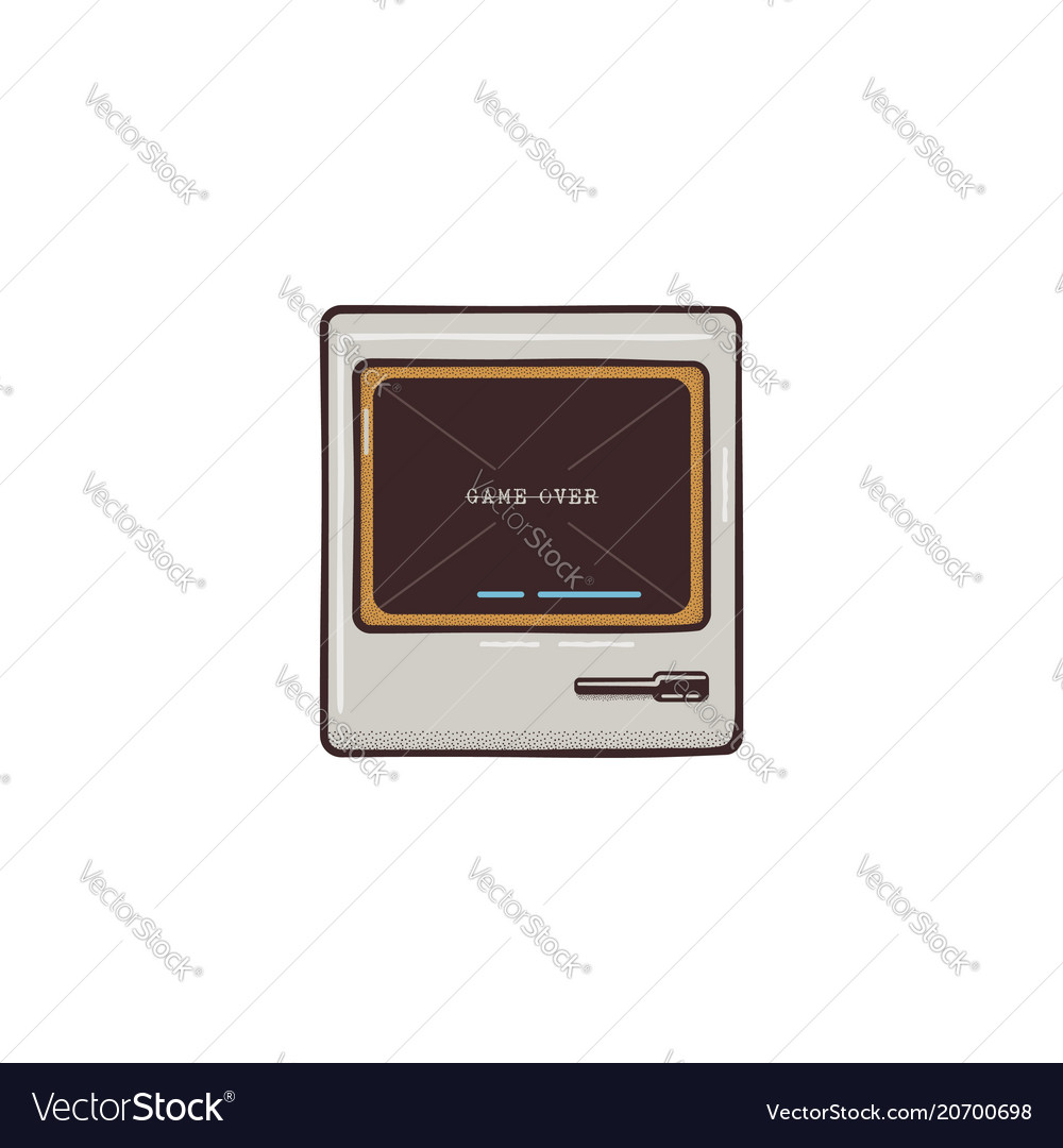 Old pc flat icon design cute retro colors