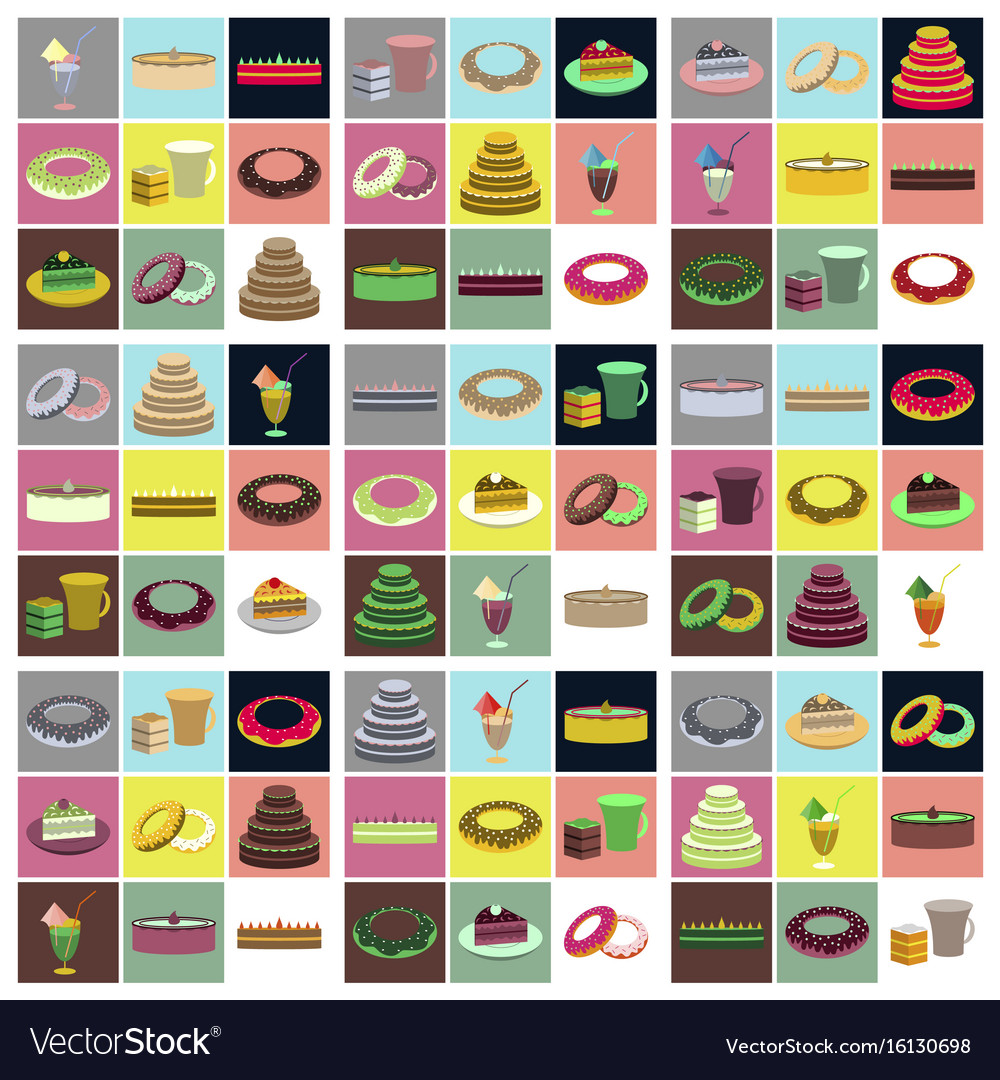 Set icons in flat design cakes desserts
