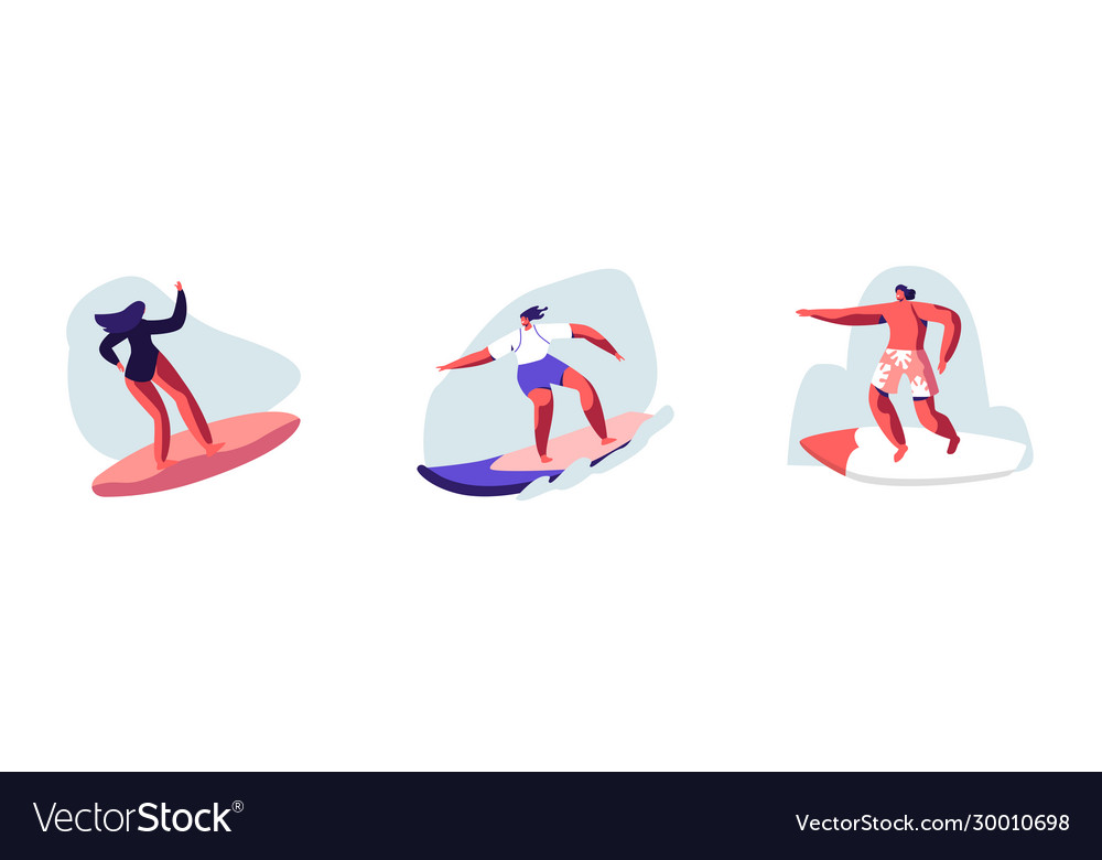 Set young people surfing recreation man and