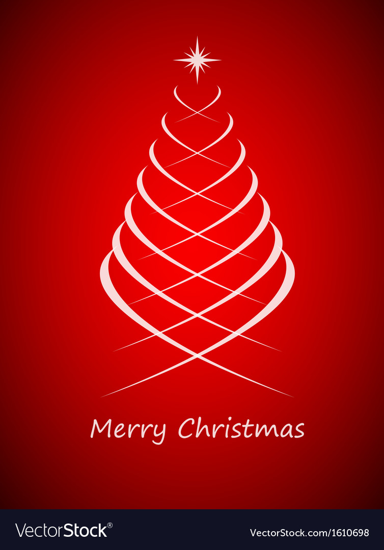 Simple Christmas Tree On Red Background Royalty Free Vector