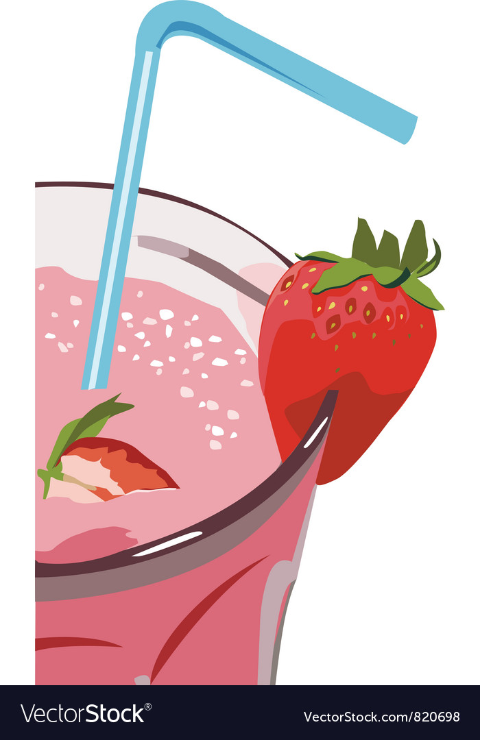 Strawberry milkshakes vector image
