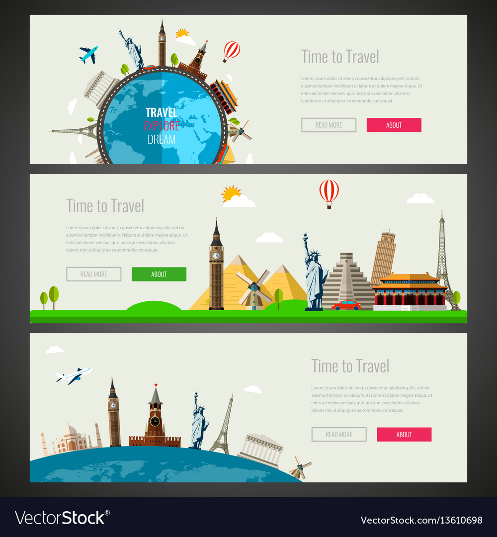 Three travel and tourism headers banners with