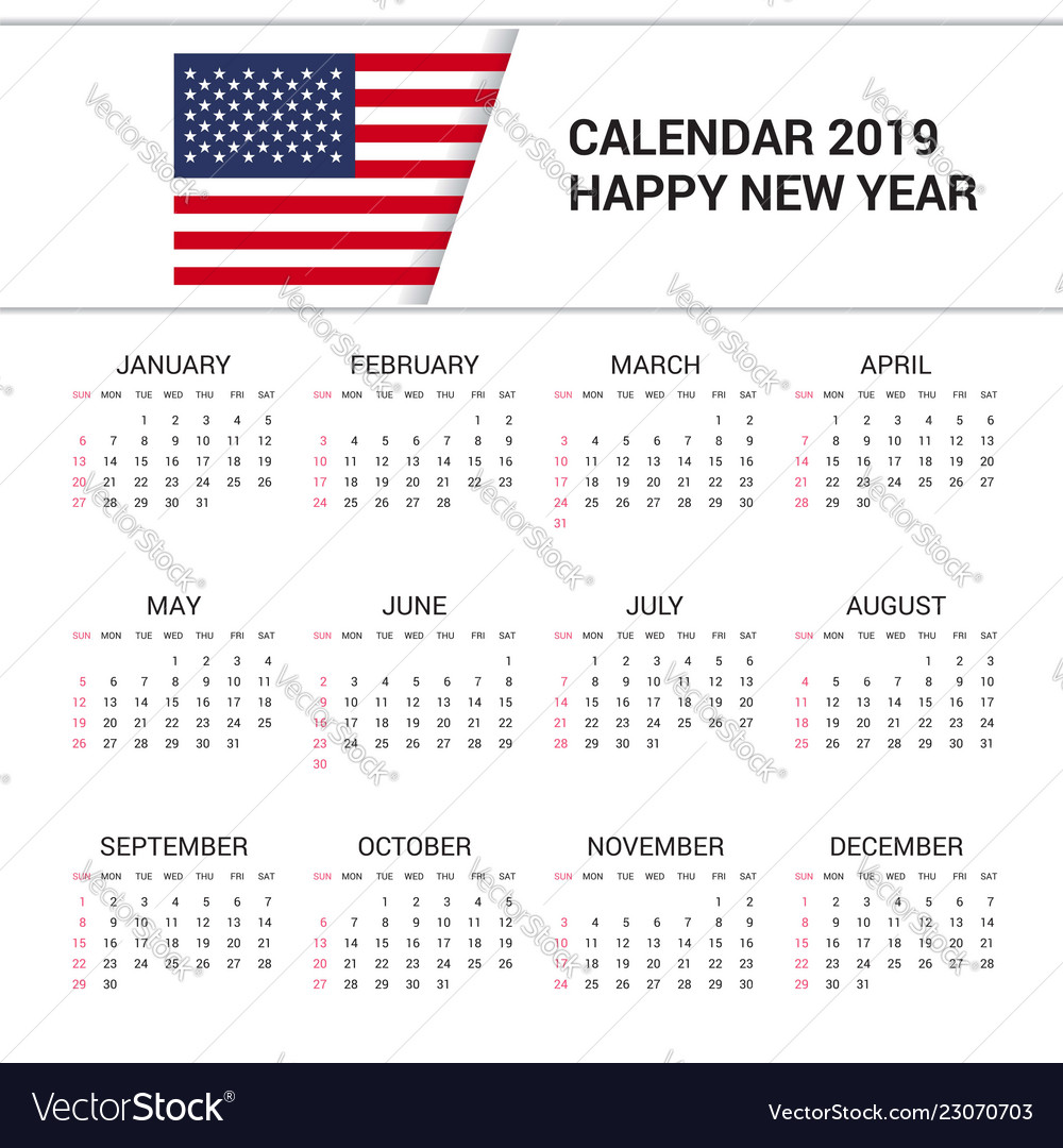 American Calendar 2019 Calendar 2019 united states of america flag Vector Image