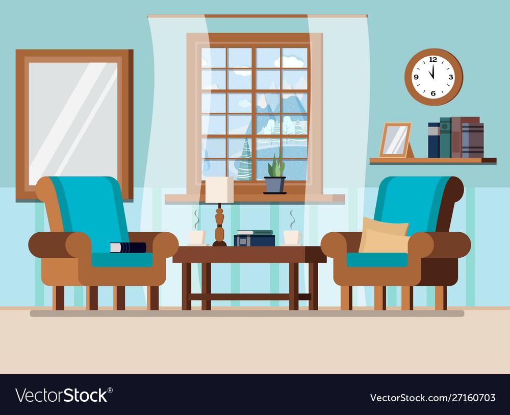 Cozy Home Living Room Interior Background Scene Vector Image