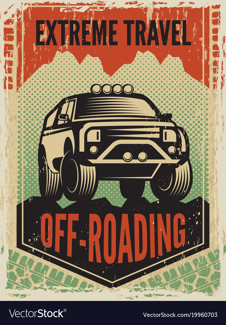 Design template of poster in retro style with suv