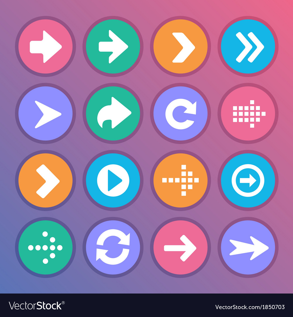 Flat and round arrow icons