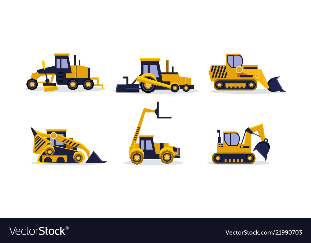 Flat set of colorful construction vehicles