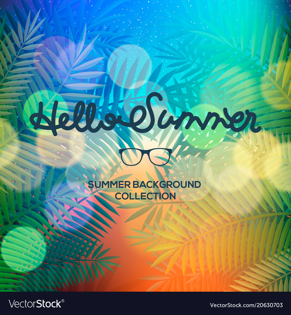Hello summer lettering text on blurred sunset view