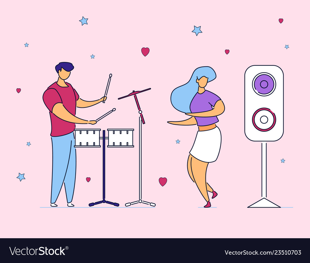 Modern flat cartoon characters male drummer and